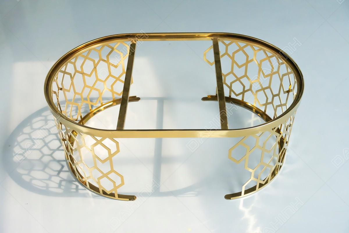 Gia công chân bàn trà inox mạ vàng