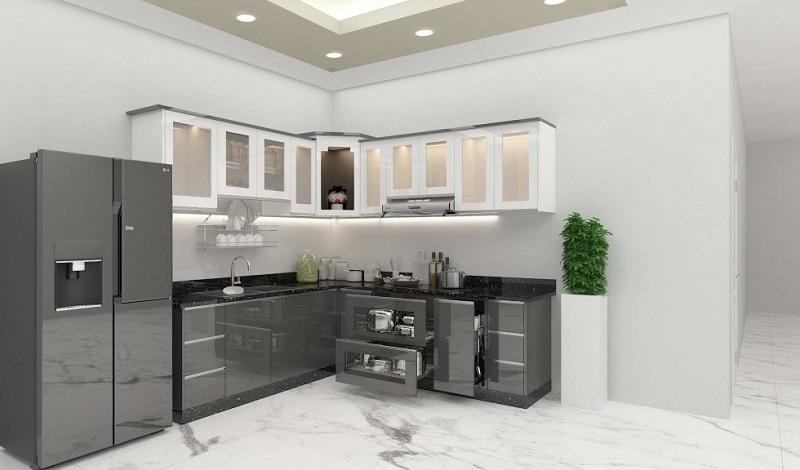 Không gian bếp sang trọng, hiện đại nhờ nội thất inox bóng gương